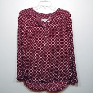 Loft Long Sleeve Pop Over Top Size Small